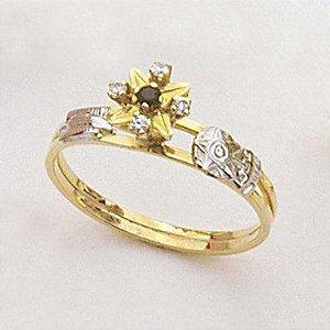 Anel Ouro 18k Amarelo Formatura Estrela Aro Vazado L 14.9