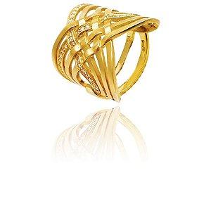Anel Ouro 18K Amarelo Cruzado Diamante L 99