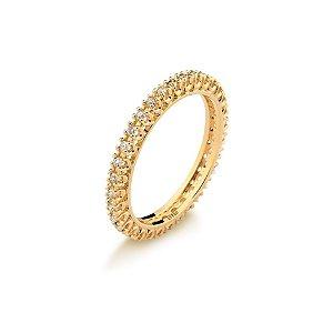 Anel Aliança Inteira Diamante Ouro Amarelo 18k L 41.9