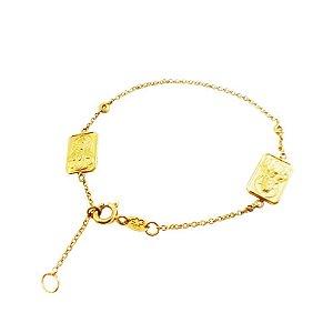 Pulseira Ouro 18k Escapulário Diamante L 18.9