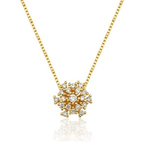 Gargantilha Ouro Amarelo 18k Diamante 17.4 Pontos L 30.4
