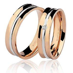 Aliança Ouro 18k Rosê Feminina com Diamante