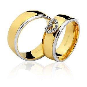 Par Alianças Ouro 18k Amarelo e Branco Coração
