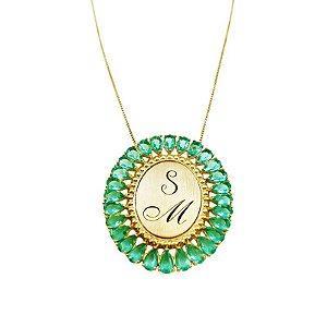 Gargantilha Prata Banho de Ouro Gota Invertida Zircônia Verde Personalizada até 3 Letras S M VD 276