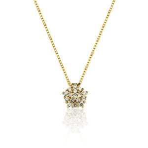 Gargantilha Ouro 18K Amarelo Clássica Diamante L 23.4