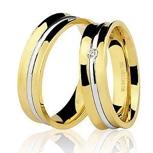 Par Alianças Ouro 18k Amarelo e Branco com Diamante na Feminina