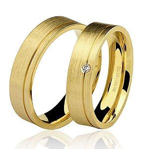 Par Aliança Ouro 18k Amarelo Escovado com Diamante