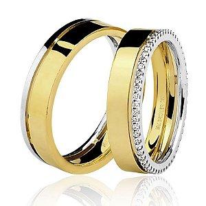 Par Aliança Ouro 18k com Diamantes na Feminina