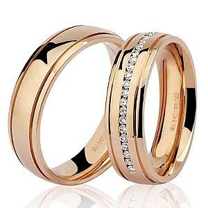 Par Aliança Ouro 18k Rosê Diamante na Feminina