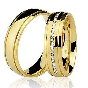 Par Alianças Ouro Amarelo 18k Diamante na Feminina
