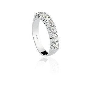 Anel Meia Aliança Ouro Branco 18k Diamante 91 Pontos L 172