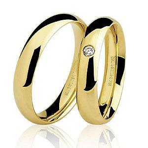 Aliança Ouro 18K Tradicional Feminina com Diamante