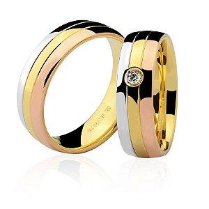 Aliança Ouro 18k Feminina 3 Tons com Diamante