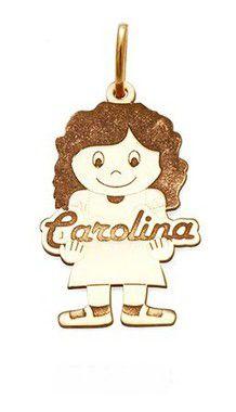 Pingente Menina Personalizada em Prata com Banho de Ouro Carolina VD 67