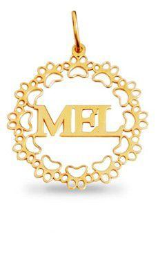 Pingente Mandala Pet Personalizada Mel em Prata Banho de Ouro VD 79