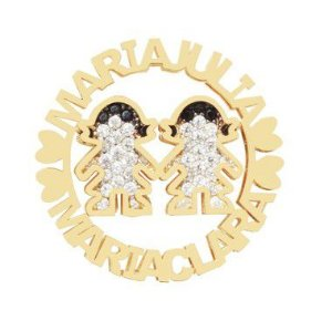 Pingente Mandala 2 Meninas Prata Banho de Ouro Maria Julia e Maria Clara VD 219