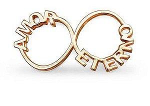 Pingente Infinito com Nomes Amor Eterno em Prata Banho de Ouro VD 149