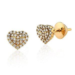 Brincos Ouro Amarelo 18k Clássico Coração Diamante L 33.2