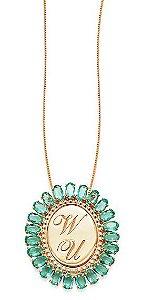 Gargantilha Prata Banho de Ouro Zircônia Verde Oval Personalizada até 3 Letras VD 269