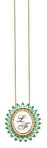 Gargantilha Prata Banho de Ouro Gota Zircônia Verde Personalizada até 3 letras VD 249