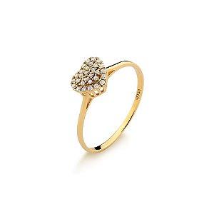 Anel Ouro Amarelo 18k Coração Diamante L 20.5