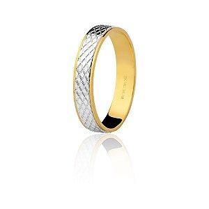 Aliança Ouro Amarelo e Branco Trabalhada Ref 75.0122.4000