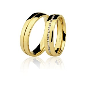 Par Alianças Ouro Amarelo 18k Ref 75.0186.2000 e 76.0186.201