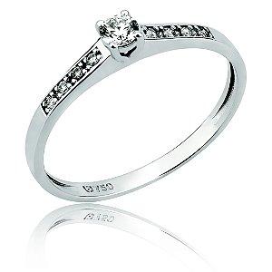 Anel Solitário Ouro Branco 18k Diamante L 20.5