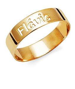 Anel Aliança Personalizada Prata com Banho de Ouro Flávia VD 103