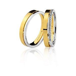 Par Alianças Ouro 18k Amarelo e Branco Friso Vazado Diamante Meio Aro - 75.0258.4000 e 76.0258.4006