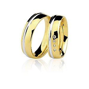 Par Alianças Ouro 18k Amarelo e Branco Ref 75.0170.4000 e 76.0170.4004