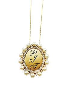 Gargantilha Prata Banho de Ouro Cravejada Zircônia Branca e Perola Personalizada até 3 Letras VD 205