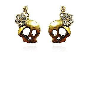 Brincos Ouro Amarelo 18k Caveira com Diamantes L 12.5