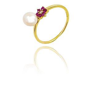 Anel Ouro Amarelo 18k Pérola com Flor de Rubi L 9.5