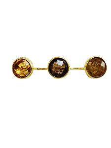 Anel Ouro Amarelo Duplo Pedra Natural L 47.8