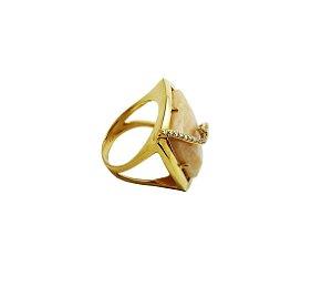 Anel Ouro Amarelo 18k Quartzo Nude Diva L 86