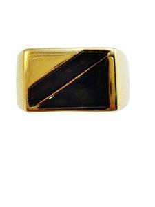 Anel Ouro Masculino Ônix L 56