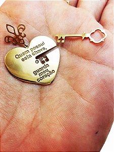Pingente Ouro 18k Diamante Coração Chave Destacável Ele e Ela