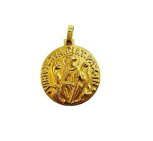 Pingente Medalha de São Bento amarelo 18k L18,2