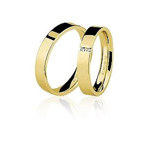 Aliança Ouro Amarelo 18k Plana com Diamantes