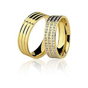 Aliança Ouro Amarelo 18k Anatômica com Três Frisos de Diamantes Ref 76.0223.2147