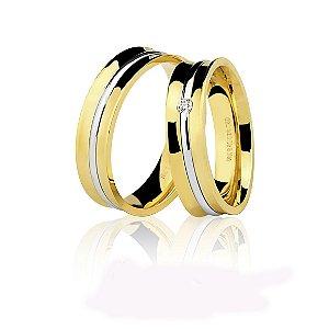 Aliança Ouro 18k Amarelo e Branco Côncava Polida sem Pedra Ref 75.0202.4000