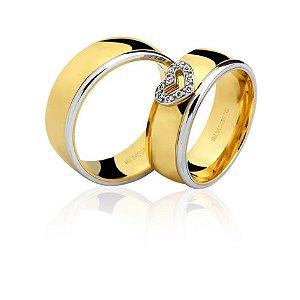 Aliança Ouro 18k Amarelo e Branco Arredondada Polida Coração com Diamantes Ref 76.0237.4006