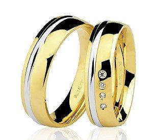 Aliança Ouro 18k Amarelo e Branco Meia Cana Anatômica com Diamantes 76.0170.4004