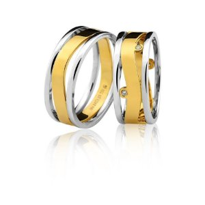 Aliança Ouro 18k Amarelo e Branco Vazada em Curva sem Pedras Ref 75.0264.4000