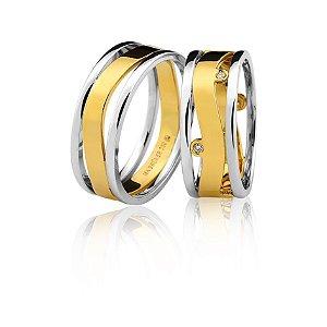Aliança Ouro 18k Amarelo e Branco Vazada em Curva com Diamantes Ref 76.0264.4005