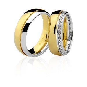 Aliança Ouro Amarelo e Branco 18k Friso em Baixo Relevo com Diamantes Aro Inteiro Ref 76.0248.4017