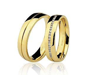 Aliança Ouro Amarelo 18k Lisa com Friso Central e Diamantes Ref 76.0186,2016