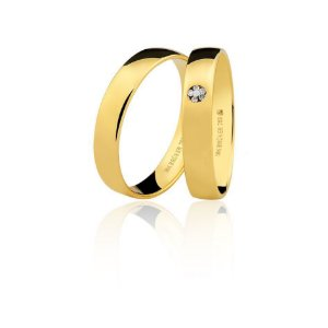 Aliança Ouro Amarelo 18k Polida Anatômica com Diamantes Ref 76.0316.2002