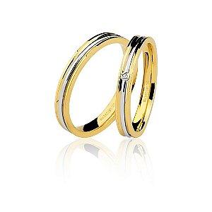 Aliança Ouro Amarelo e Branco 18k Anatômica com Friso Branco Central e Diamante Ref 76.0218.4003